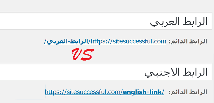 الرابط العربي ام الاجنبي
